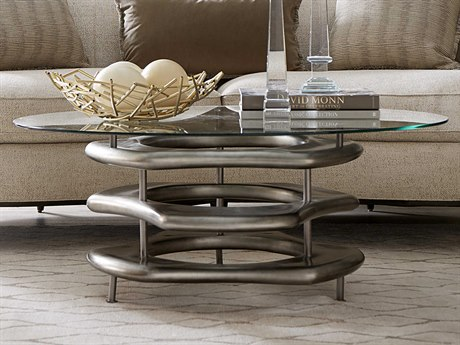 A.R.T. Furniture Prossimo Bronze Leaf 44'' Wide Oval Coffee Table AT2503011240