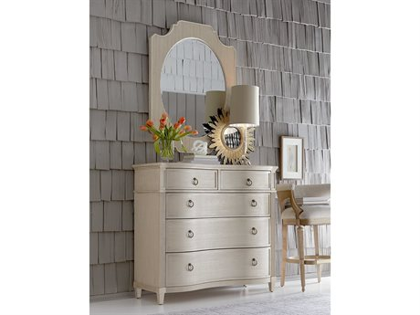 A.R.T. Furniture Roseline Mila Gold Shimmer Five Drawers Single Dresser with Wall Mirror Set AT2481582332SET