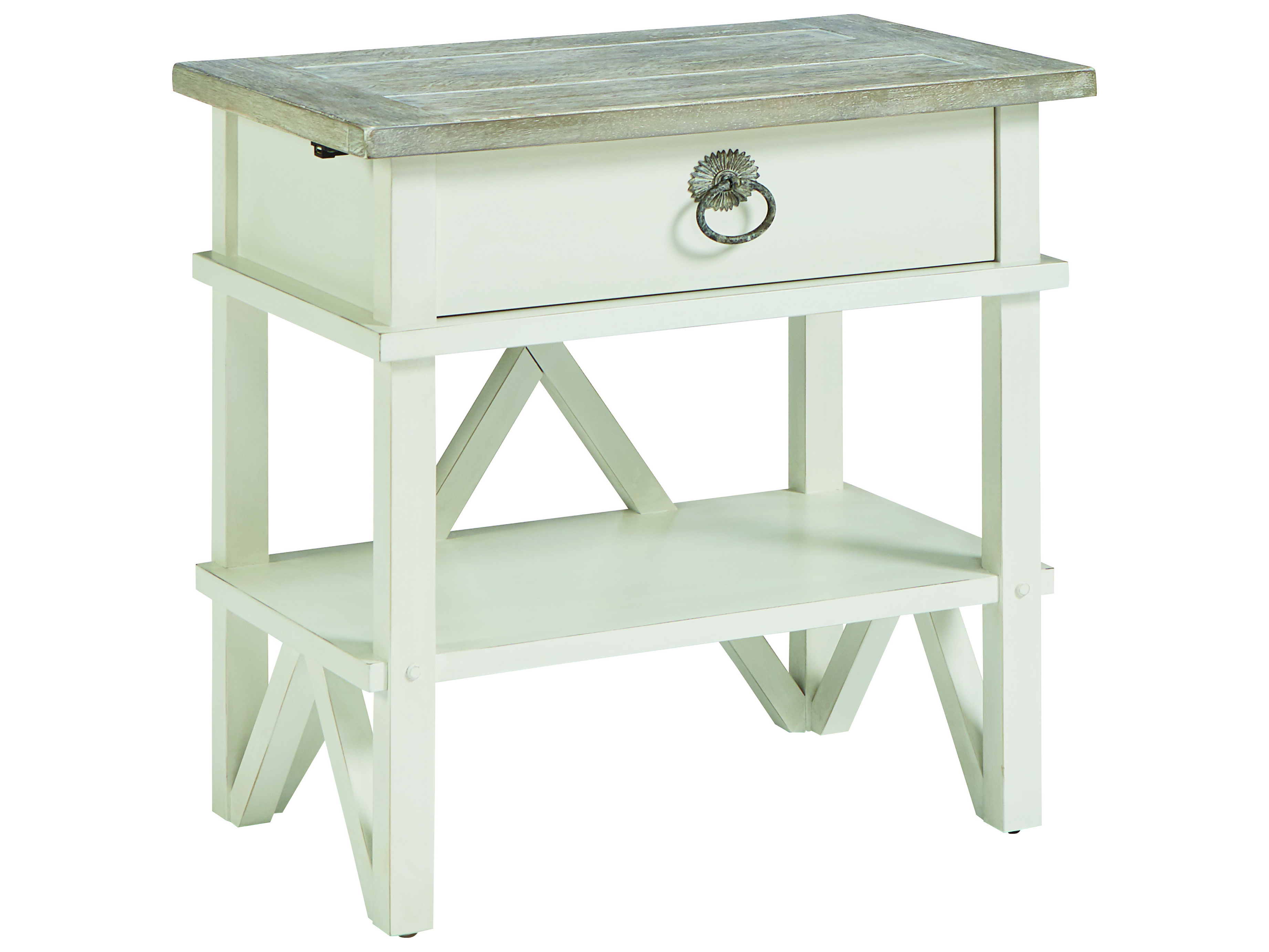 A R T Furniture Summer Creek Scrubbed Oak Harbor White One Drawer Nightstand