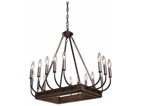 Artcraft Lighting Aberdeen Brunito Bronze & Light Wood 16-Light 29'' Wide Chandelier ACAC11056BU
