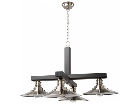 Artcraft Lighting Ambrose Dark Wood & Brushed Nickel Four-Light 31'' Wide Chandelier ACAC11044BN