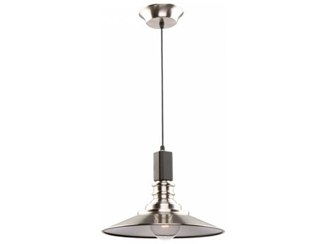 Artcraft Lighting Ambrose Brushed Nickel & Dark Wood 12'' Wide Mini Pendant Light ACAC11041BN