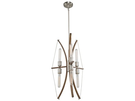 Artcraft Lighting Arco Faux Wood / Brushed Nickel 18'' Wide Mini Chandelier ACAC11482