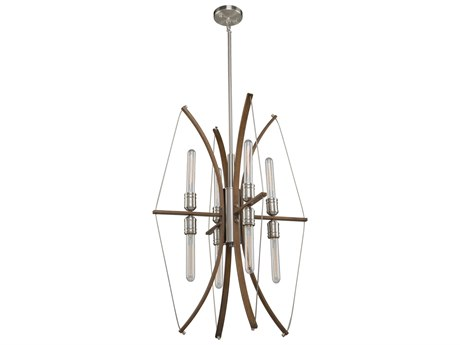 Artcraft Lighting Arco Faux Wood / Brushed Nickel 22'' Wide Mini Chandelier ACAC11483
