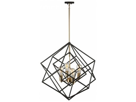 Artcraft Lighting Artistry Matte Black & Satin Brass Four-Light 24'' Wide Chandelier ACAC11114