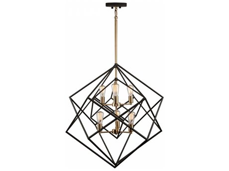 Artcraft Lighting Artistry Matte Black & Satin Brass Six-Light 32'' Wide Chandelier ACAC11116