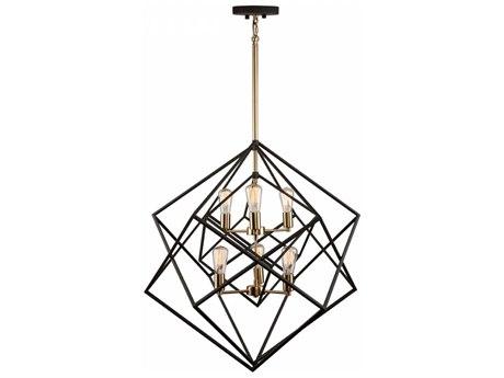 Artcraft Lighting Artistry Matte Black & Satin Brass Six-Light 32'' Wide Chandelier ACAC11116