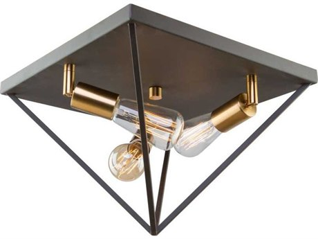 Artcraft Lighting Artistry Matte Black / Satin Brass Three-Light 14'' Wide Flush Mount Light ACAC11113