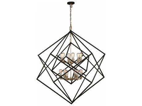 Artcraft Lighting Artistry Matte Black & Satin Brass 12-Light 47'' Wide Grand Chandelier ACAC11112