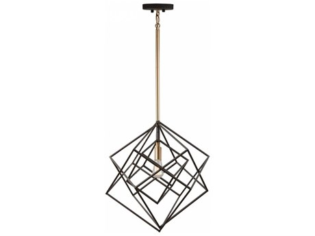 Artcraft Lighting Artistry Matte Black & Satin Brass 16'' Wide Pendant Light ACAC11111