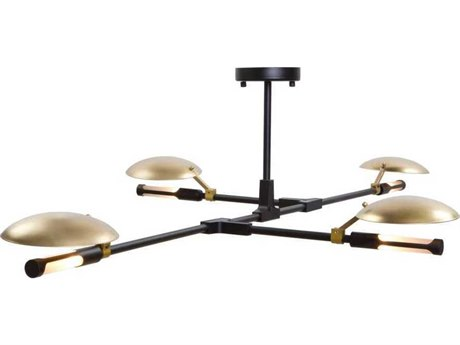Artcraft Lighting Aventura Matte Black / Satin Brass Four-Light 58'' Wide LED Chandelier ACAC11184