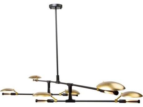 Artcraft Lighting Aventura Matte Black / Satin Brass Six-Light 67'' Wide LED Chandelier ACAC11186