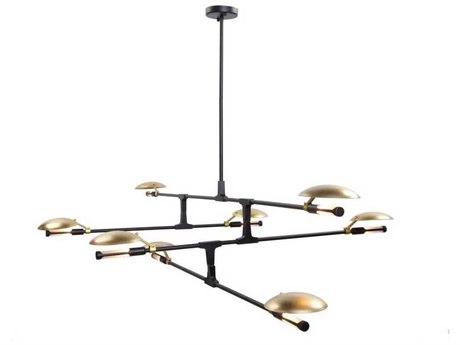 Artcraft Lighting Aventura Matte Black / Satin Brass Eight-Light 73'' Wide LED Chandelier ACAC11188