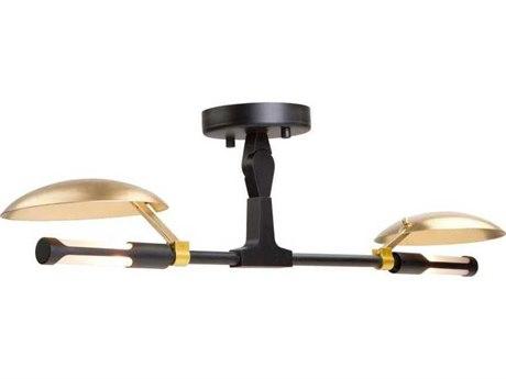 Artcraft Lighting Aventura Matte Black / Satin Brass Two-Light 27'' Wide LED Semi Flush Mount Light ACAC11182