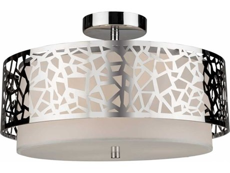 Artcraft Lighting Bayview Chrome & White Three-Light 16'' Wide Semi-Flush Mount Light ACAC11066CH