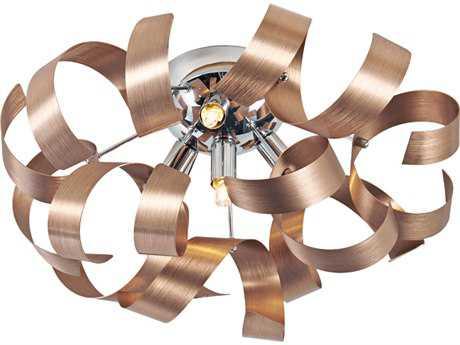 Artcraft Lighting Bel Air Brushed Copper & Chrome Four-Light Flush Mount Light ACAC604CO