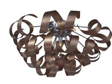 Artcraft Lighting Bel Air Brushed Copper & Chrome Five-Light Flush Mount Light ACAC605CO