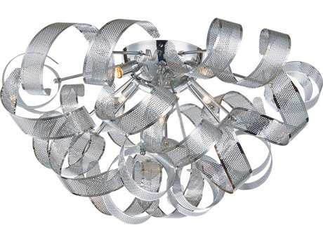 Artcraft Lighting Bel Air Chrome Mesh Leaves Five-Light 24'' Wide Flush Mount Light ACAC625CH
