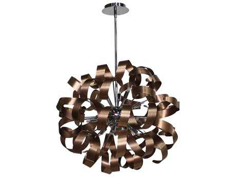 Artcraft Lighting Bel Air Brushed Copper & Chrome 12-Light Pendant ACAC601CO