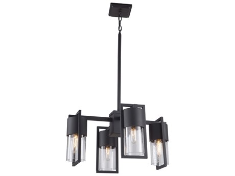 Artcraft Lighting Bond Matte Black / Brass 26'' Wide Glass Medium Chandelier ACAC9148BK