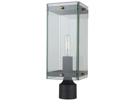 Artcraft Lighting Bradgate Matte Black / Harvest Brass Glass Outdoor Post Light