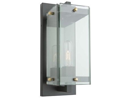 Artcraft Lighting Bradgate Matte Black / Harvest Brass Glass Outdoor Wall Light