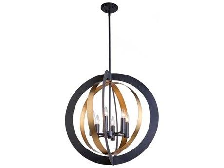 Artcraft Lighting Capri Dark Bronze / Satin Brass Six-Light 26'' Wide Chandelier ACAC11236