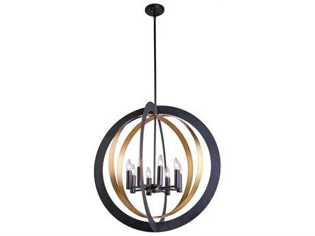 Artcraft Lighting Capri Dark Bronze / Satin Brass Eight-Light 30'' Wide Chandelier