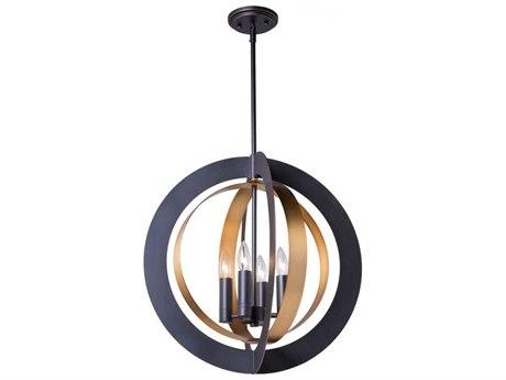 Artcraft Lighting Capri Dark Bronze / Satin Brass Four-Light 21'' Wide Mini Chandelier ACAC11234