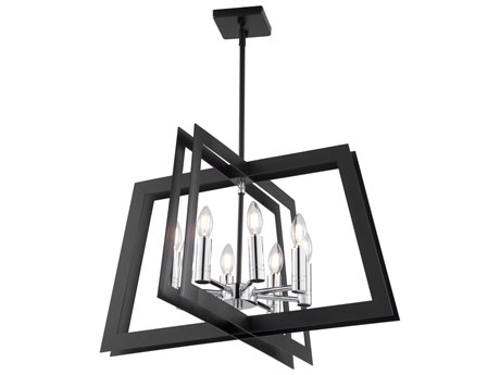 Artcraft Lighting Carlton Matte Black / Polished Nickel 26'' Wide Medium Chandelier ACAC11378