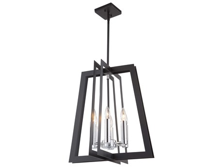 Artcraft Lighting Carlton Matte Black / Polished Nickel 18'' Wide Mini Chandelier