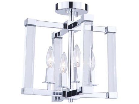 Artcraft Lighting Carlyle Chrome 13'' Wide Glass Semi-Flush Mount ACAC11403