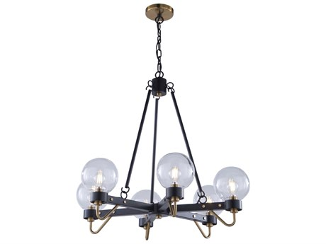 Artcraft Lighting Chelton Matte Black / Harvest Brass 27'' Wide Medium Chandelier ACAC11426CL