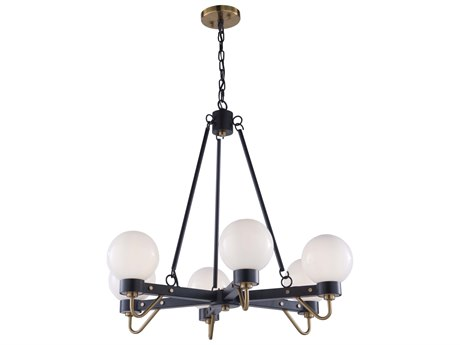 Artcraft Lighting Chelton Matte Black / Harvest Brass 27'' Wide Medium Chandelier ACAC11426WH