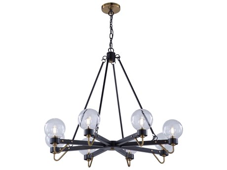 Artcraft Lighting Chelton Matte Black / Harvest Brass 35'' Wide Medium Chandelier ACAC11428CL