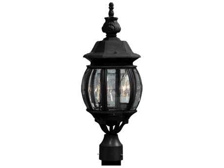 Artcraft Lighting Classico Black Three-Light Outdoor Post Mount Light