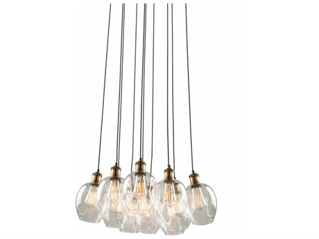 Artcraft Lighting Clearwater Vintage Brass Ten-Light 22'' Wide Pendant Light