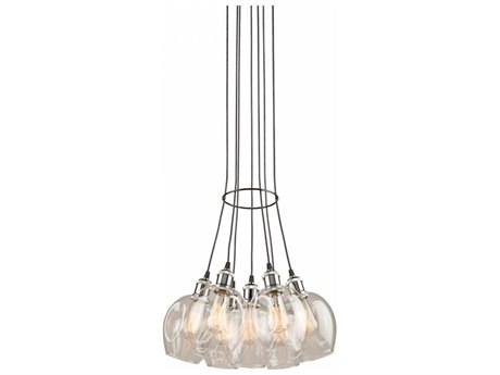 Artcraft Lighting Clearwater Polish Nickel & Black Seven-Light 18'' Wide Pendant Light ACAC10737PN