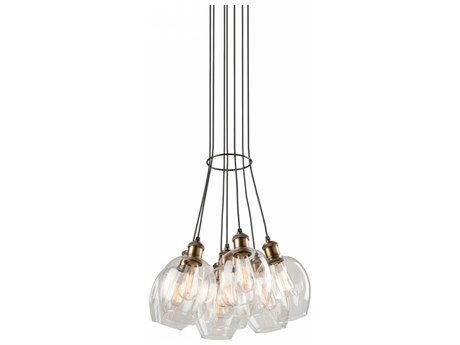 Artcraft Lighting Clearwater Vintage Brass Seven-Light 18'' Wide Pendant Light ACAC10737VB