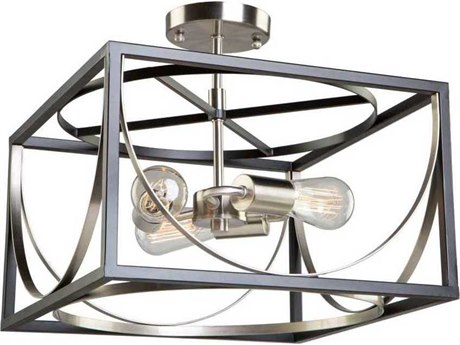 Artcraft Lighting Corona Black / Polished Nickel Three-Light 13'' Wide Semi-Flush Mount Light ACCL15093