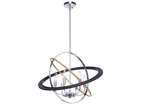 Artcraft Lighting Cosmic Dark Bronze / Chrome / Satin Brass Six-Light 24'' Wide Chandelier ACCL15116
