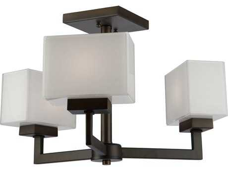 Artcraft Lighting Cube Oil Rubbed Bronze Three-Light 10'' Wide Semi-Flush Mount Light ACSC13183OB