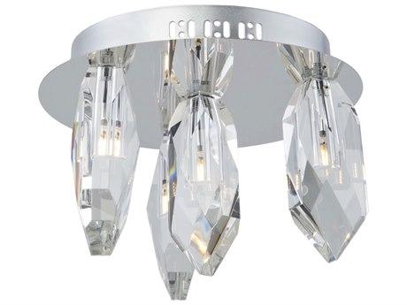 Artcraft Lighting Doccia Chrome 12'' Wide Crystal LED Flush Mount Light ACAC7044