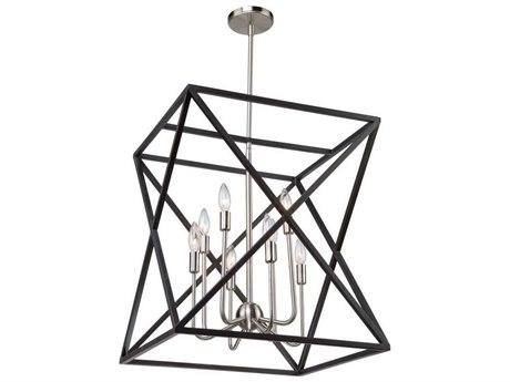 Artcraft Lighting Elements Black / Polished Nickel Eight-Light 20'' Wide Mini Chandelier