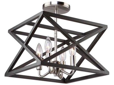 Artcraft Lighting Elements Black / Polished Nickel Four-Light 13'' Wide Semi Flush Mount Light ACAC11044