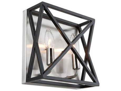 Artcraft Lighting Elements Black / Polished Nickel Two-Light 9'' Wide Wall Sconce ACAC11043