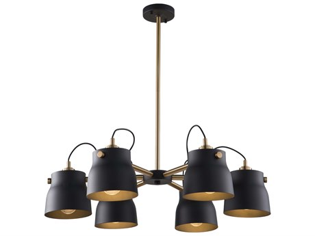 Artcraft Lighting Euro Industrial Matte Black / Harvest Brass 30'' Wide Medium Chandelier ACAC11366VB