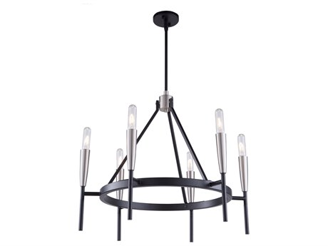 Artcraft Lighting Flute Matte Black / Satin Nickel 28'' Wide Medium Chandelier ACAC11416