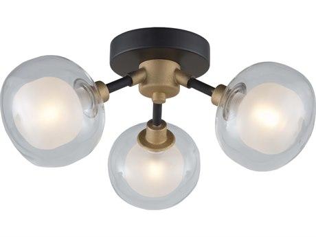 Artcraft Lighting Grappolo Matte Black / Vintage Gold 14'' Wide LED Flush Mount Light ACAC7003BG