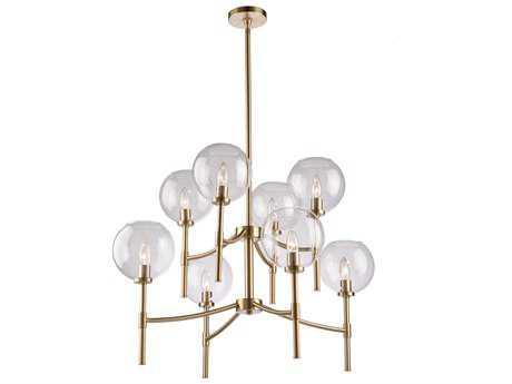Artcraft Lighting Hamilton Satin Brass Eight-Light 34'' Wide Chandelier ACSC13128SB
